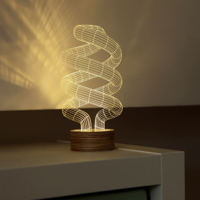 3d Optical Illusion Spiral Bulb Led Lamp