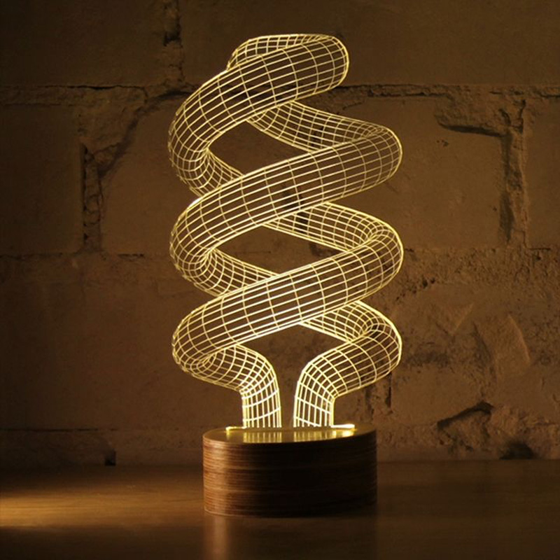3d Optical Illusion Spiral Bulb Led Lamp The Green Head