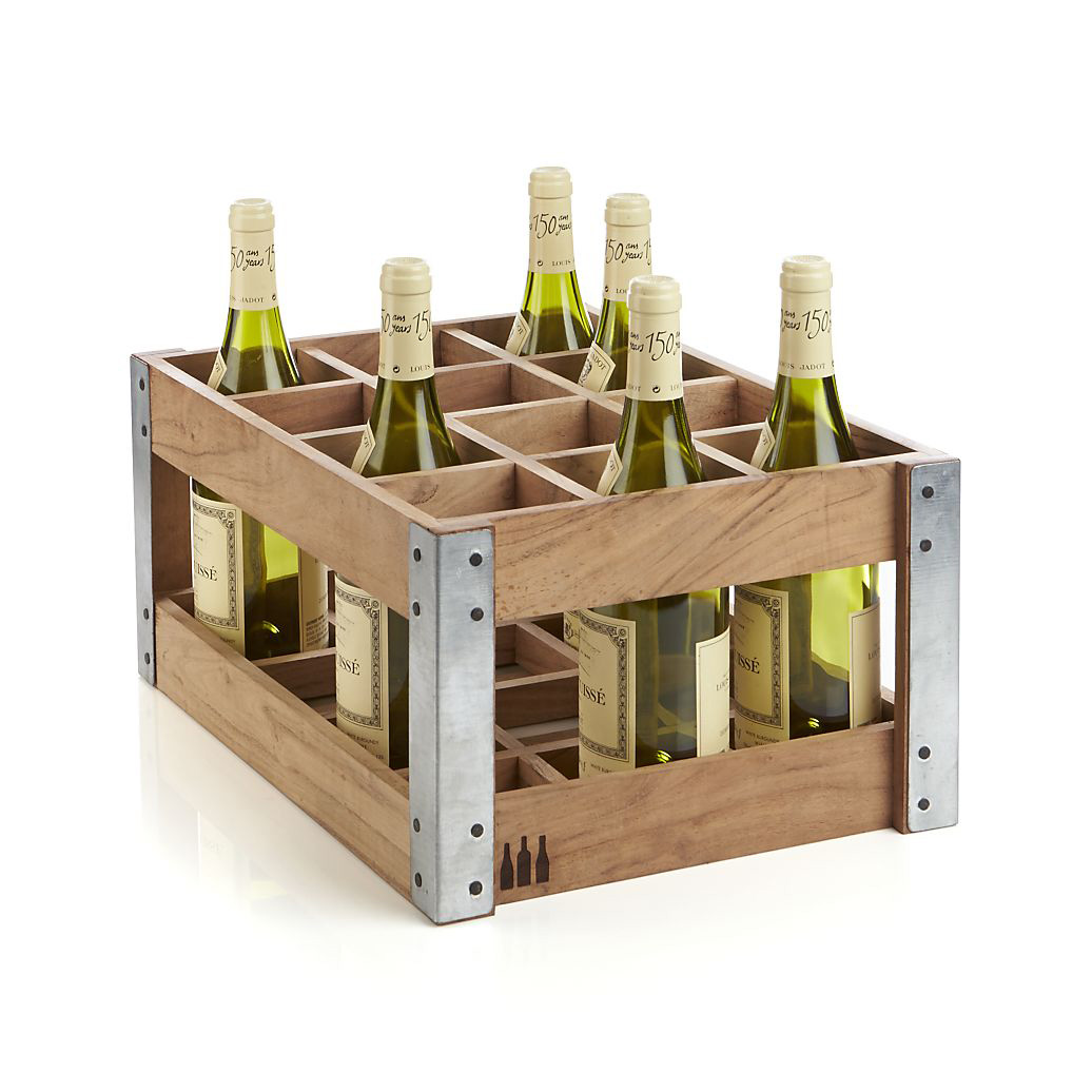Rustic acacia wood crate wine racks the green head for Where to buy used wine crates