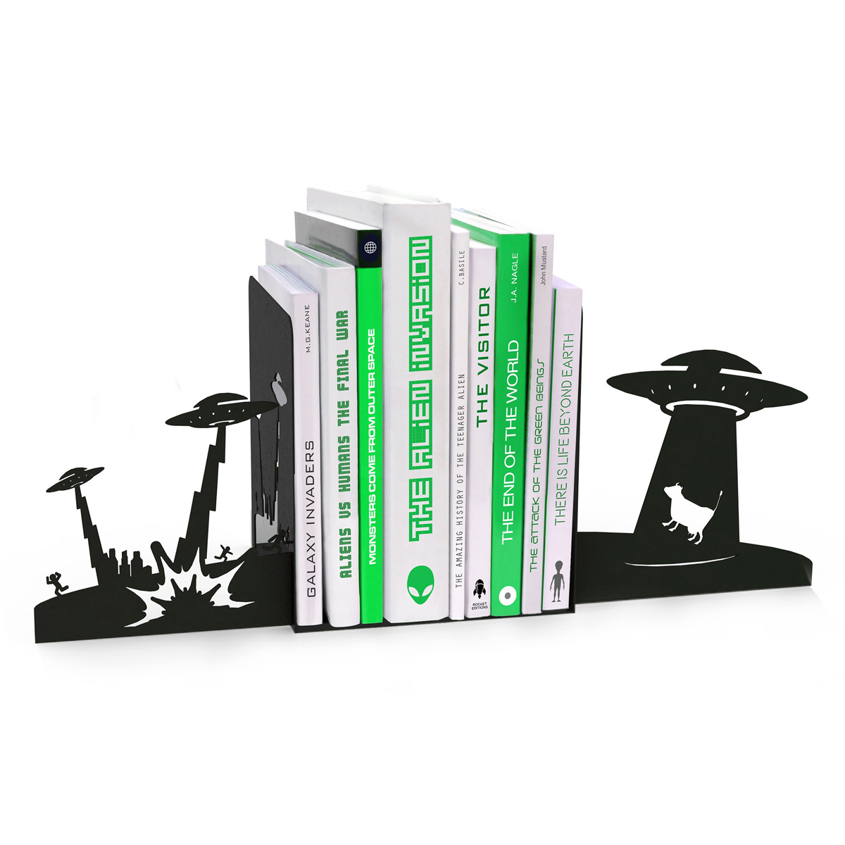 Alien Invasion Bookends - The Green Head