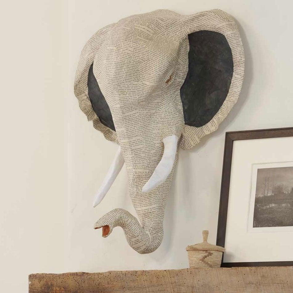 All ears elephant hand sculpted papier mache pachyderm for Papier mache art for sale