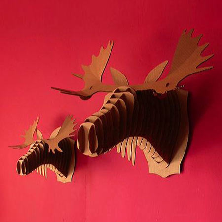 Animal friendly cardboard trophy head busts rhino deer and moose the green head - Cardboard moosehead ...