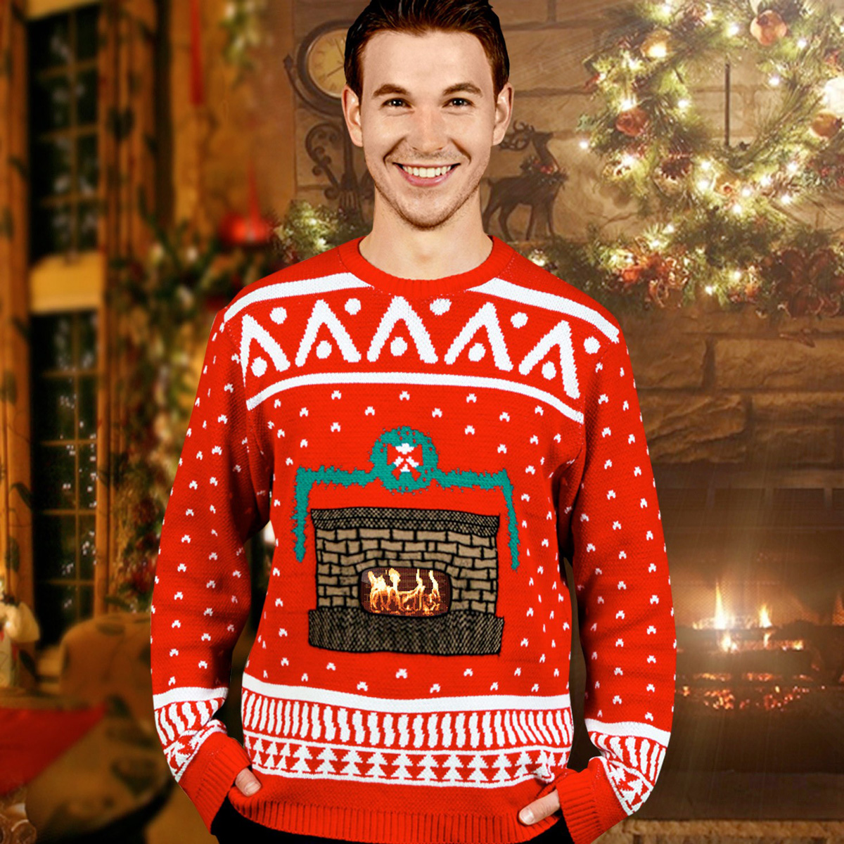 Animated Crackling Fireplace Ugly Christmas Sweaters