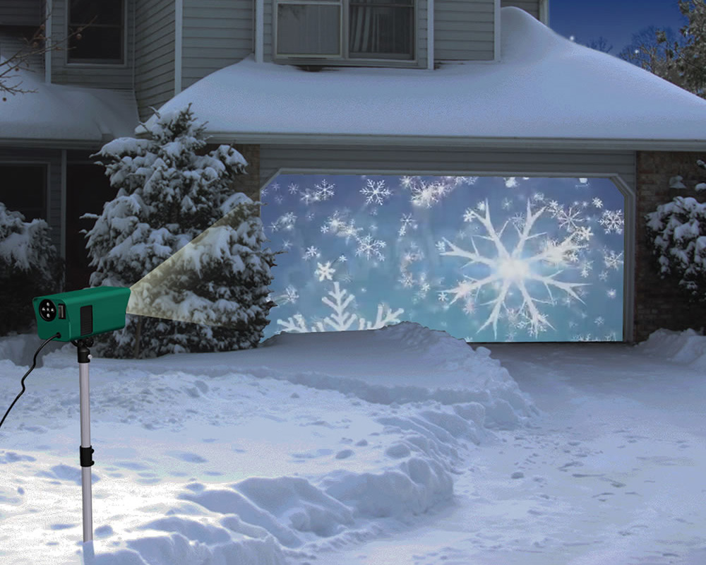Animated holiday scenes projector the green head for Outside christmas scenes