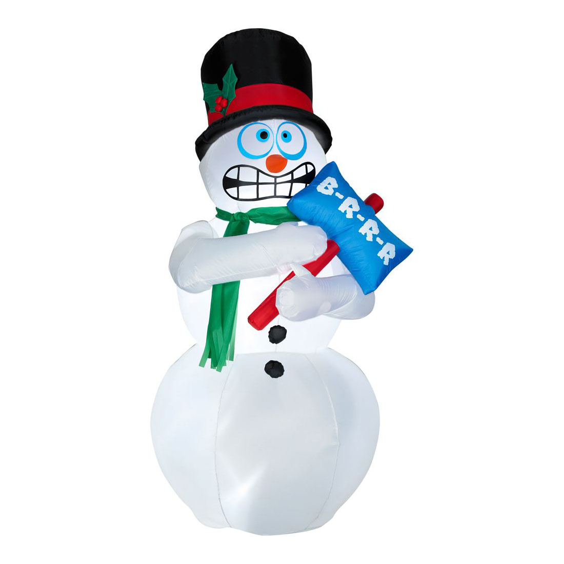 Animated inflatable shivering snowman the green head for Animated snowman decoration