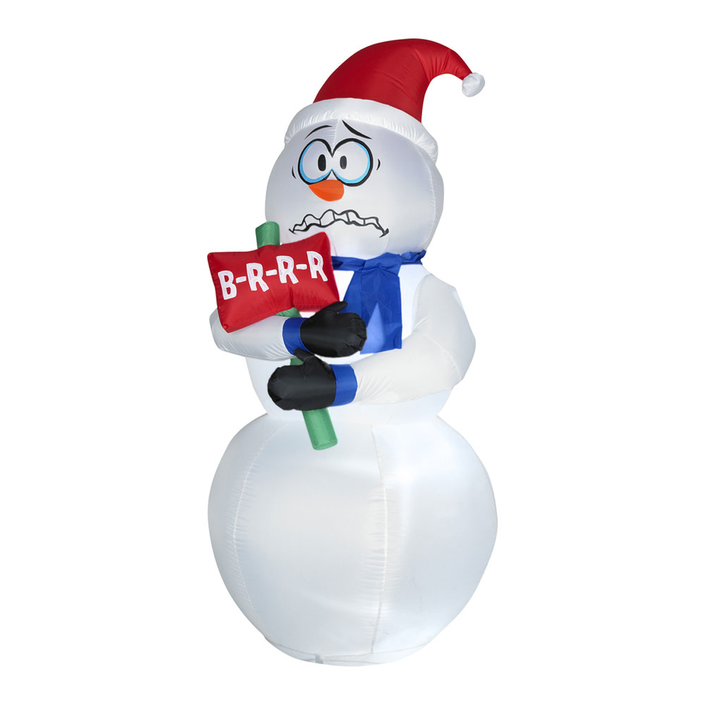 Animated Inflatable Shivering Snowman The Green Head