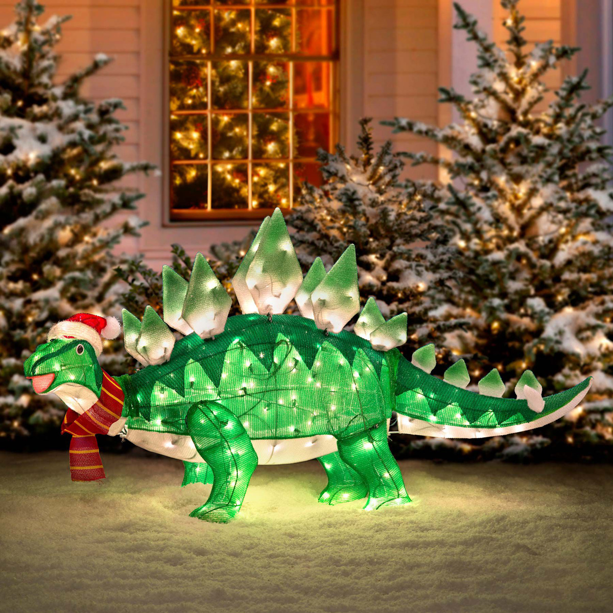 Animated stegasaurus dinosaur christmas decoration the for Animation decoration noel