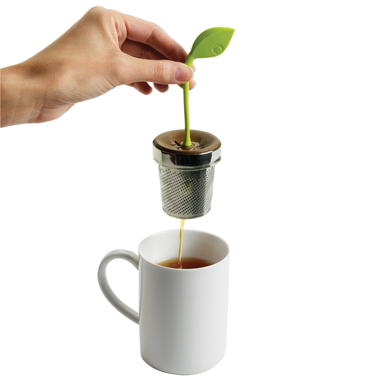 arta tea leaf infuser the green head. Black Bedroom Furniture Sets. Home Design Ideas