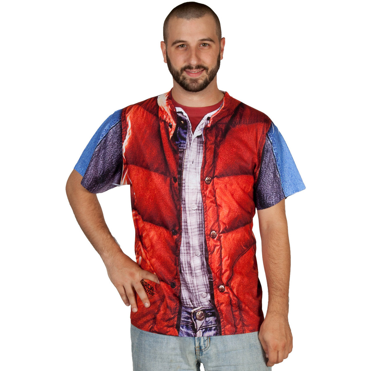 Back to the future marty mcfly vest t shirt costume the green head