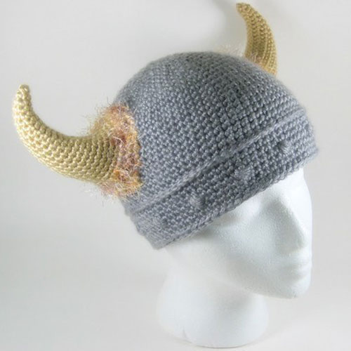 Barbarian viking knitted hat the green head