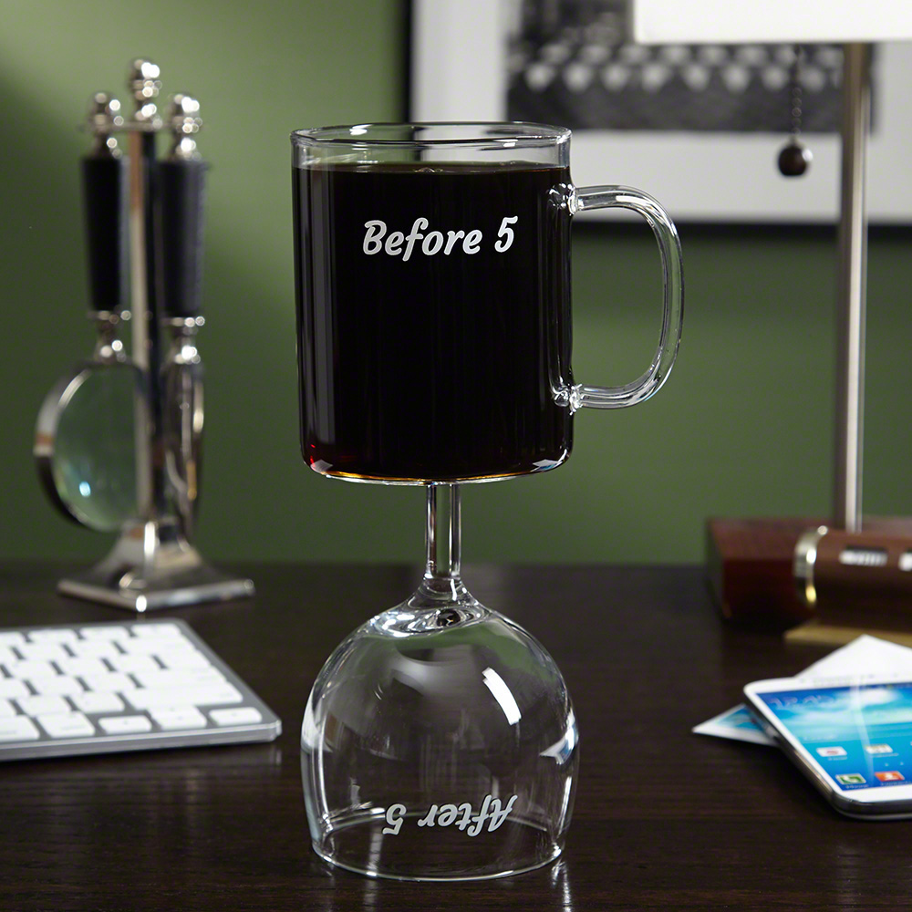 Before And After 5 Pm Coffee Mug Wine Glass