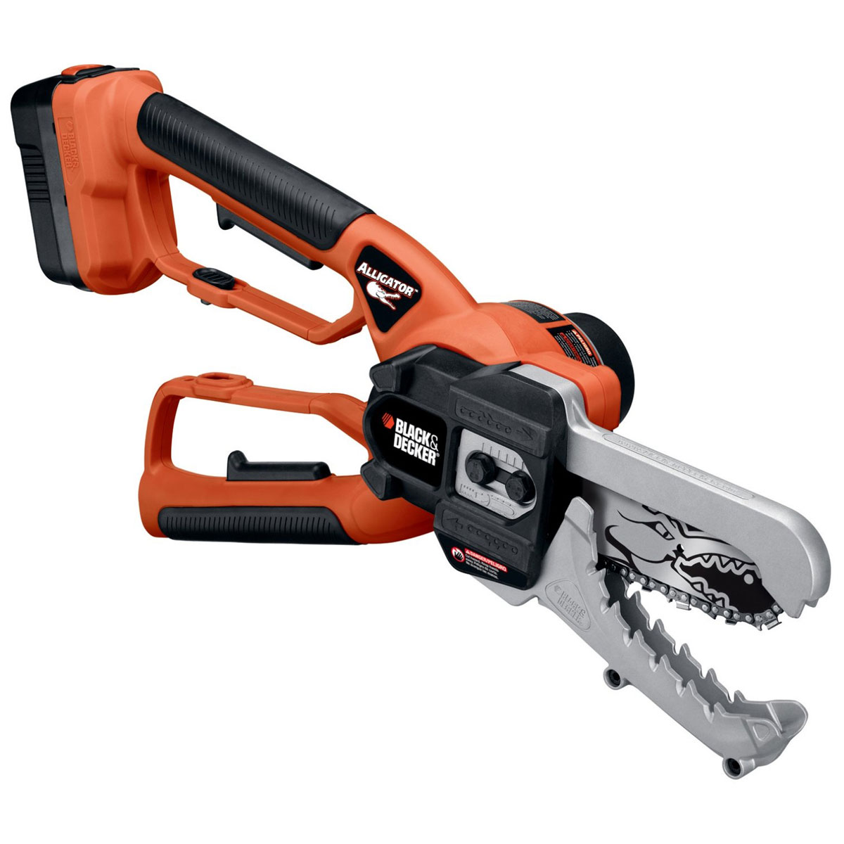 black decker alligator lopper cordless clamping chain saw the green head. Black Bedroom Furniture Sets. Home Design Ideas