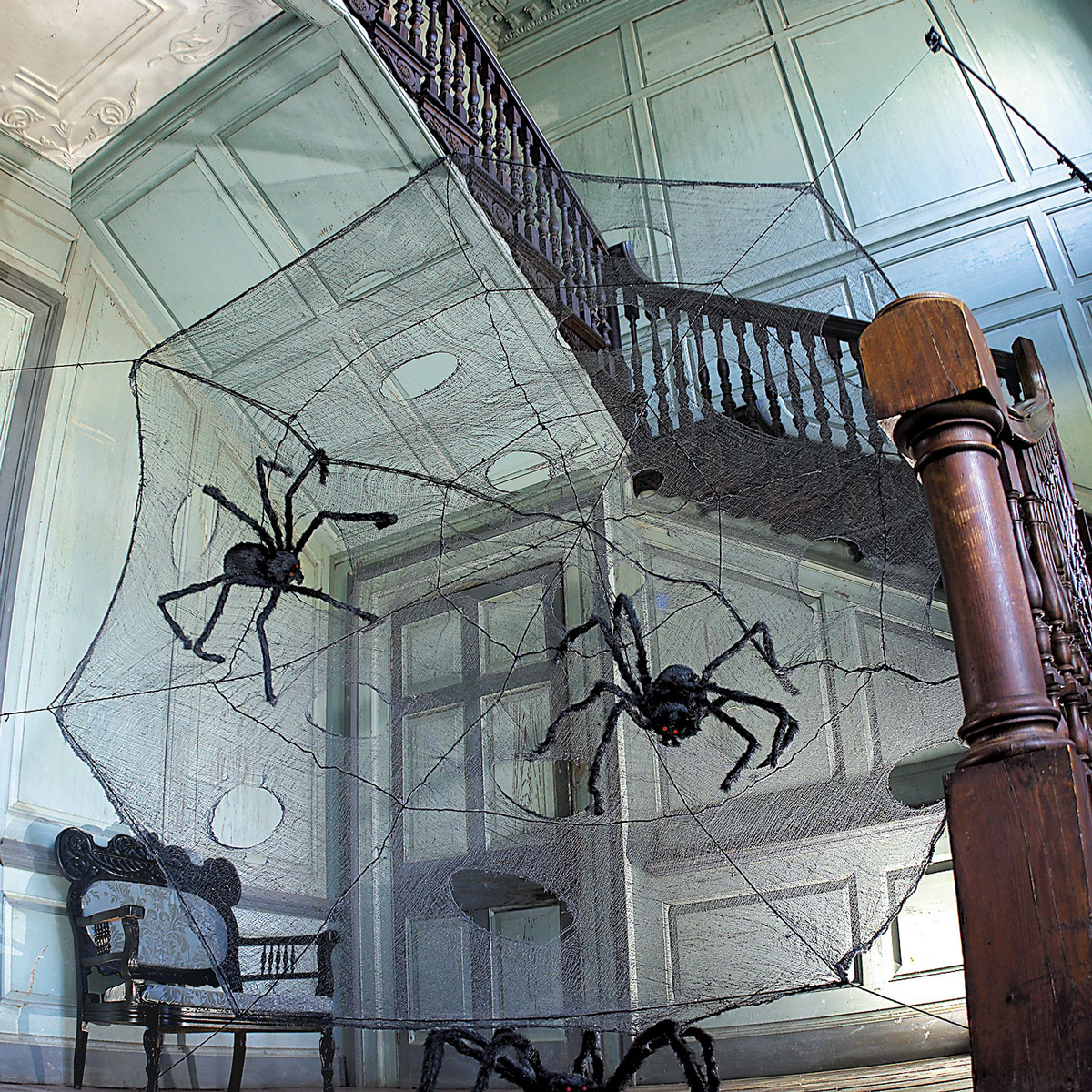 12 foot black spider web with giant spiders - Giant Halloween Decorations