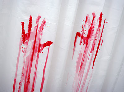 Blood bath shower curtain and bath mat the green head for Pataka bano food mat