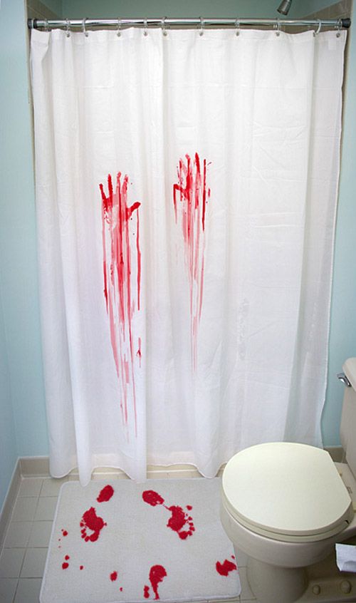 Blood bath shower curtain and bath mat the green head for Bathroom shower curtain designs