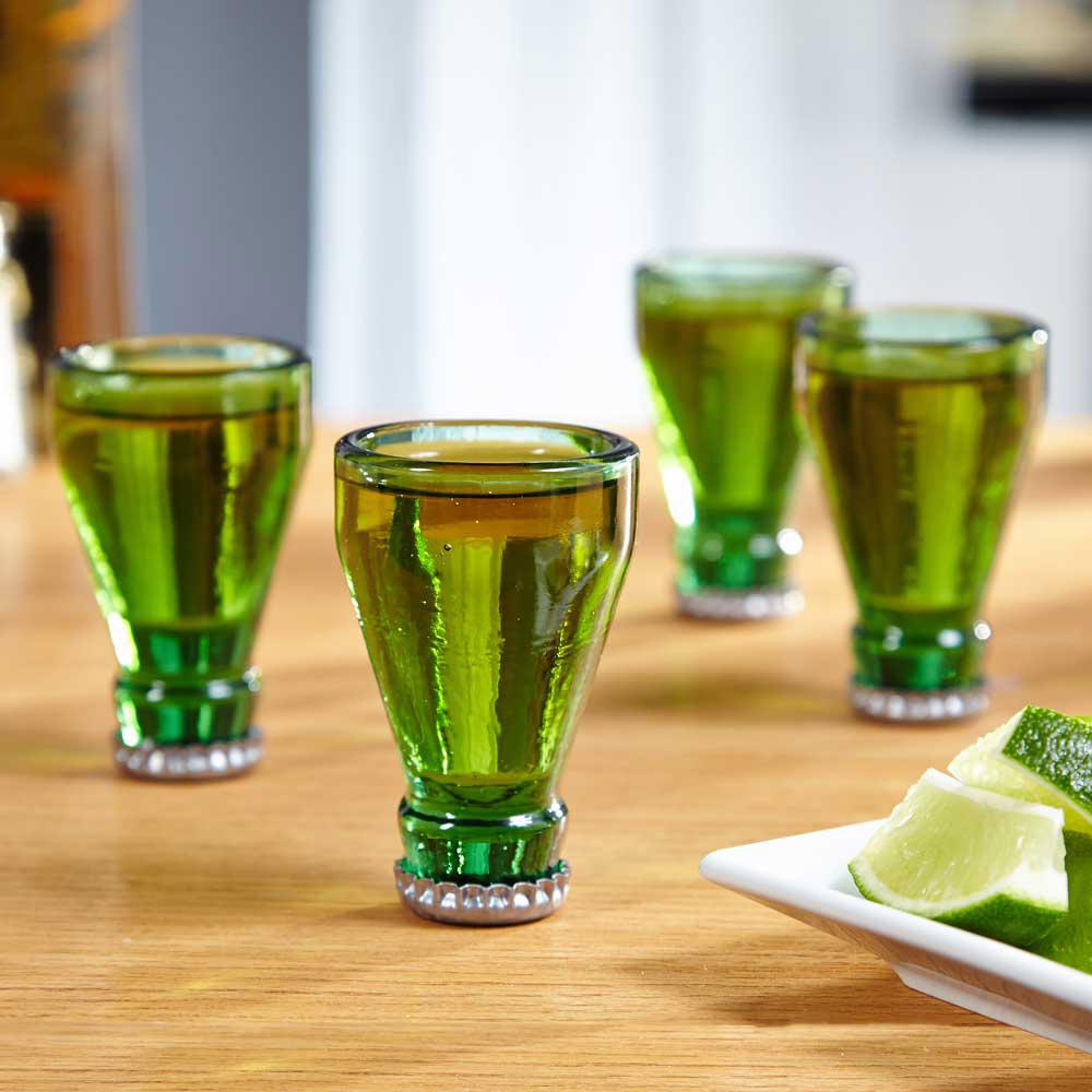 Bottle Tops Shot Glass Set The Green Head
