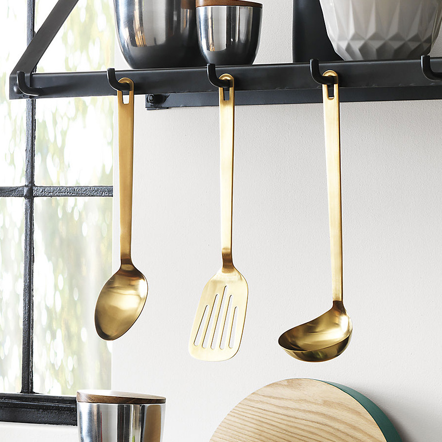 Brushed Gold Kitchen Utensils - The Green Head