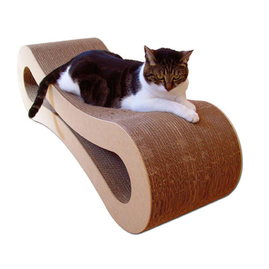 Cardboard cat lounger the green head for Curved cat scratcher