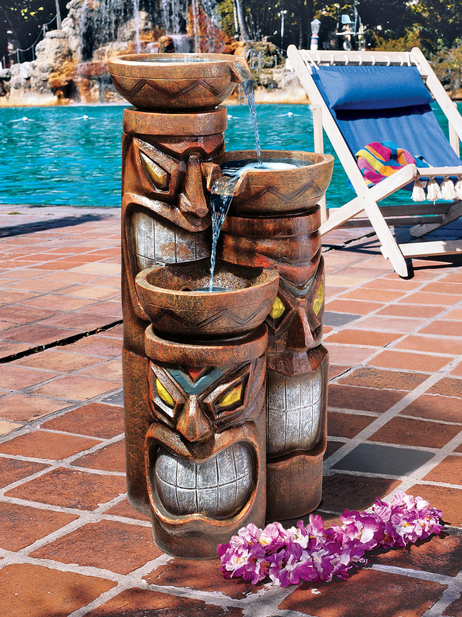 Cascading Tiki Garden Fountain The Green Head