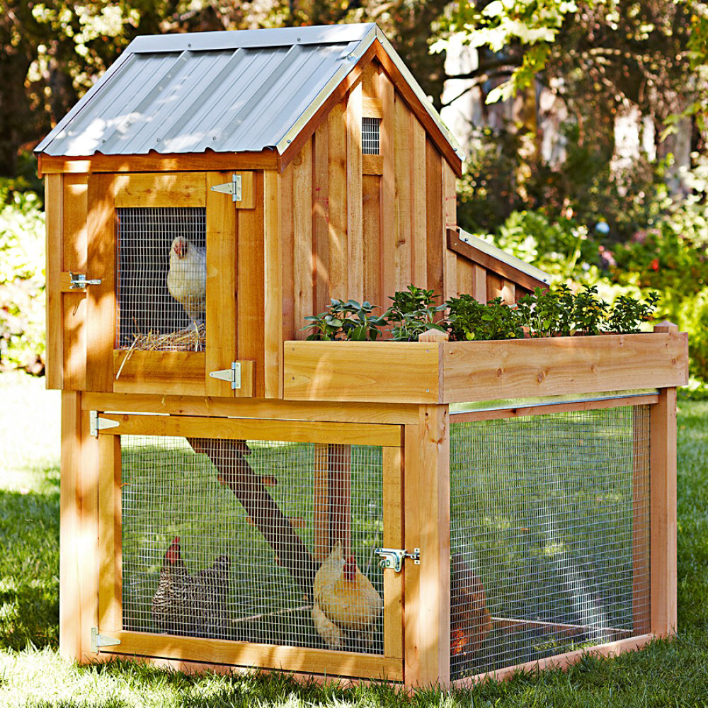 Cedar chicken coop and run with garden planter the green for Plans for chicken coops