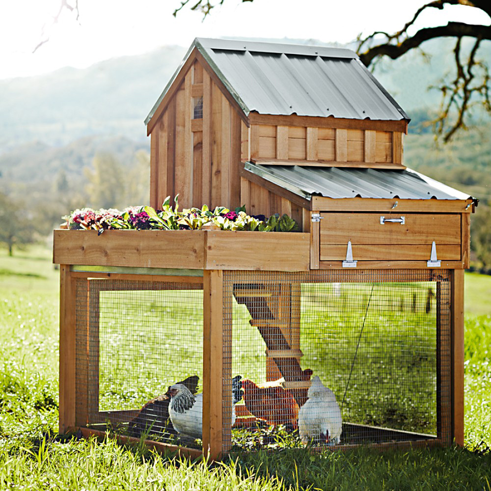 Cedar chicken coop and run with garden planter the green for Small chicken house plans