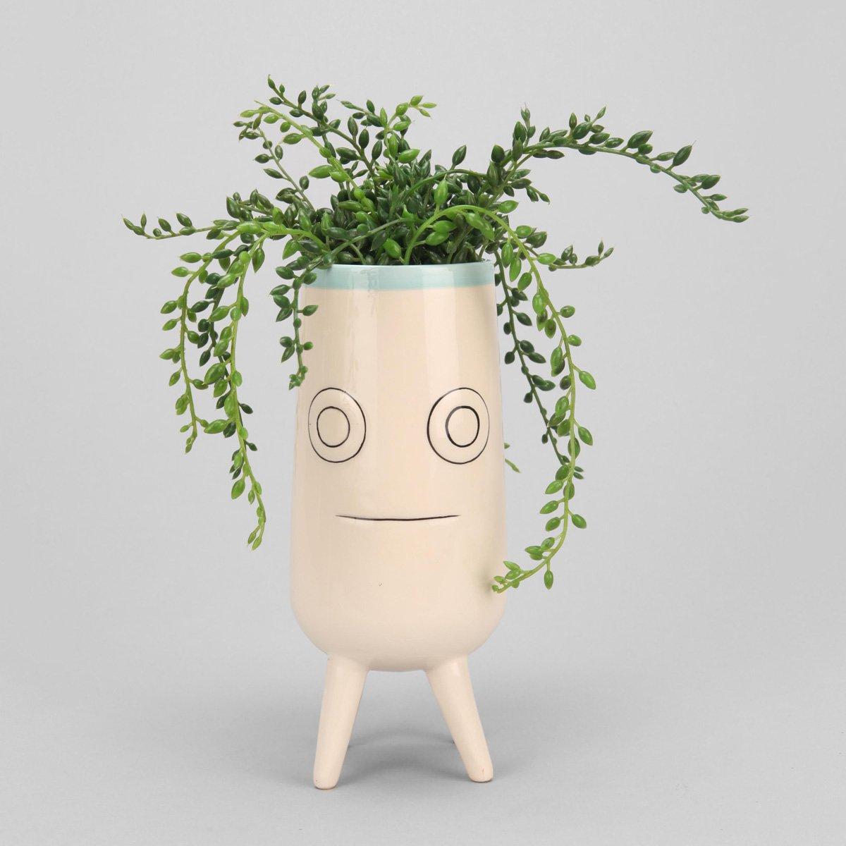 Ceramic Face Planter The Green Head