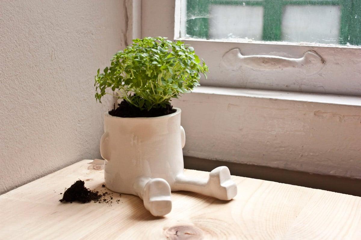 Ceramic Sitting Flower Pots The Green Head