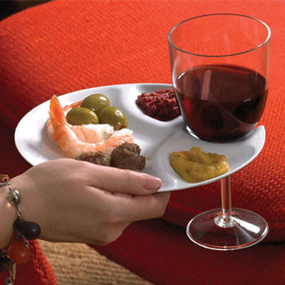 Cocktail Party Plates with Built-In Stemware Holders : wine plate holder - Pezcame.Com