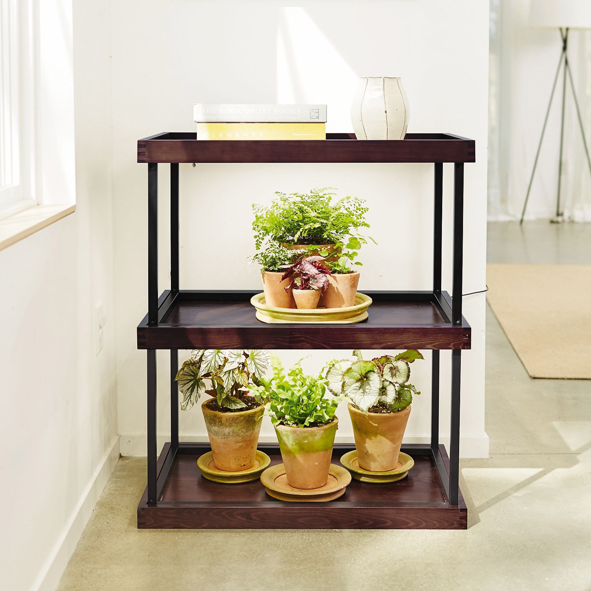 Stackable Wooden Shelves With Built-In