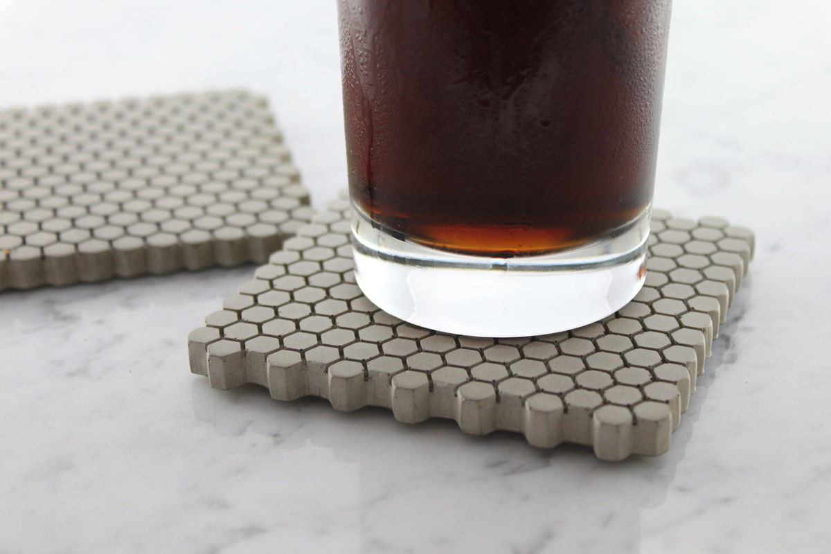concrete hexagon coasters with cork bottoms the green head