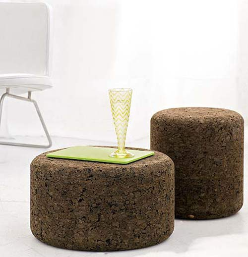 solid cork tables & stoolsdesigner jasper morrison - the green