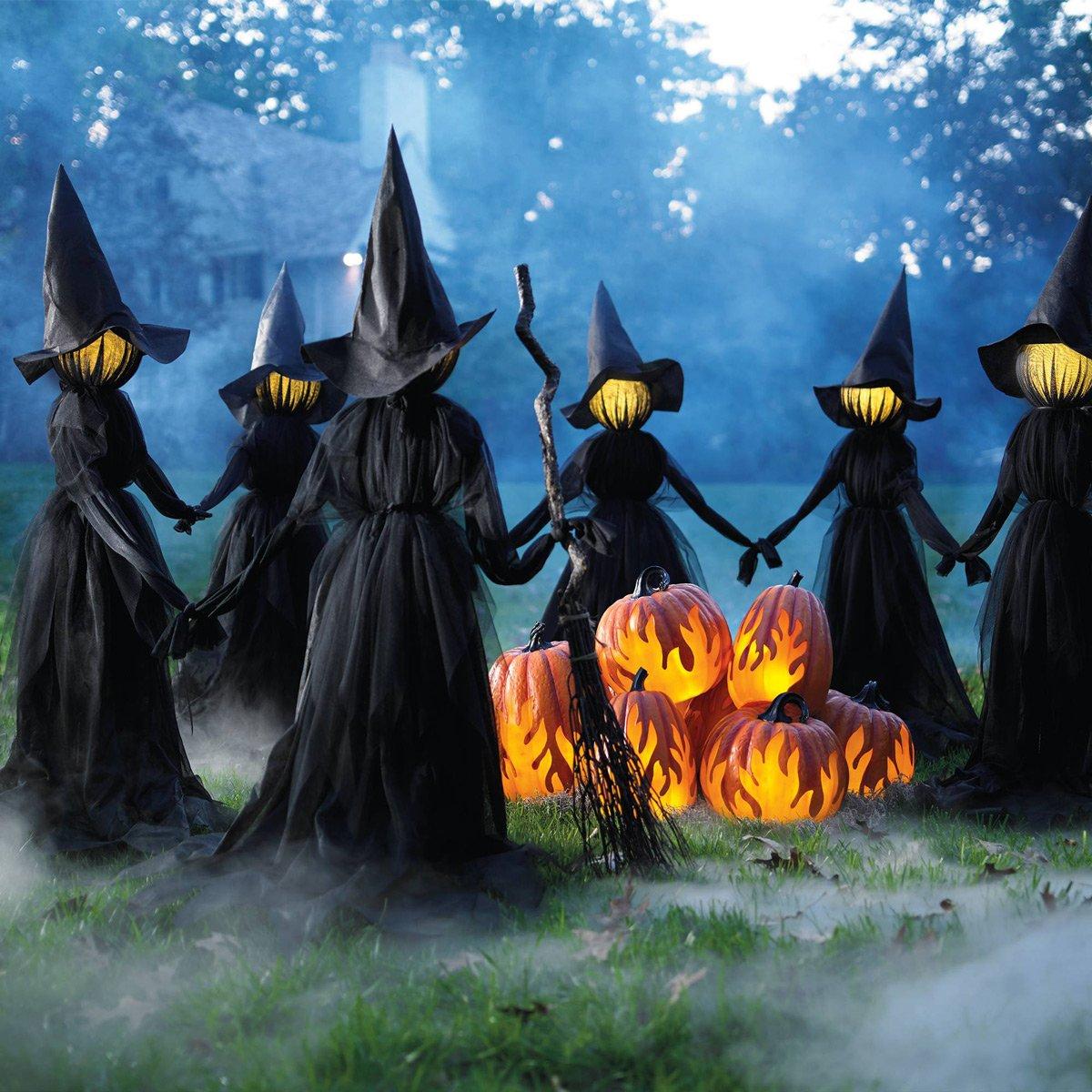 Creepy Illuminated Halloween Yard Witches The Green Head