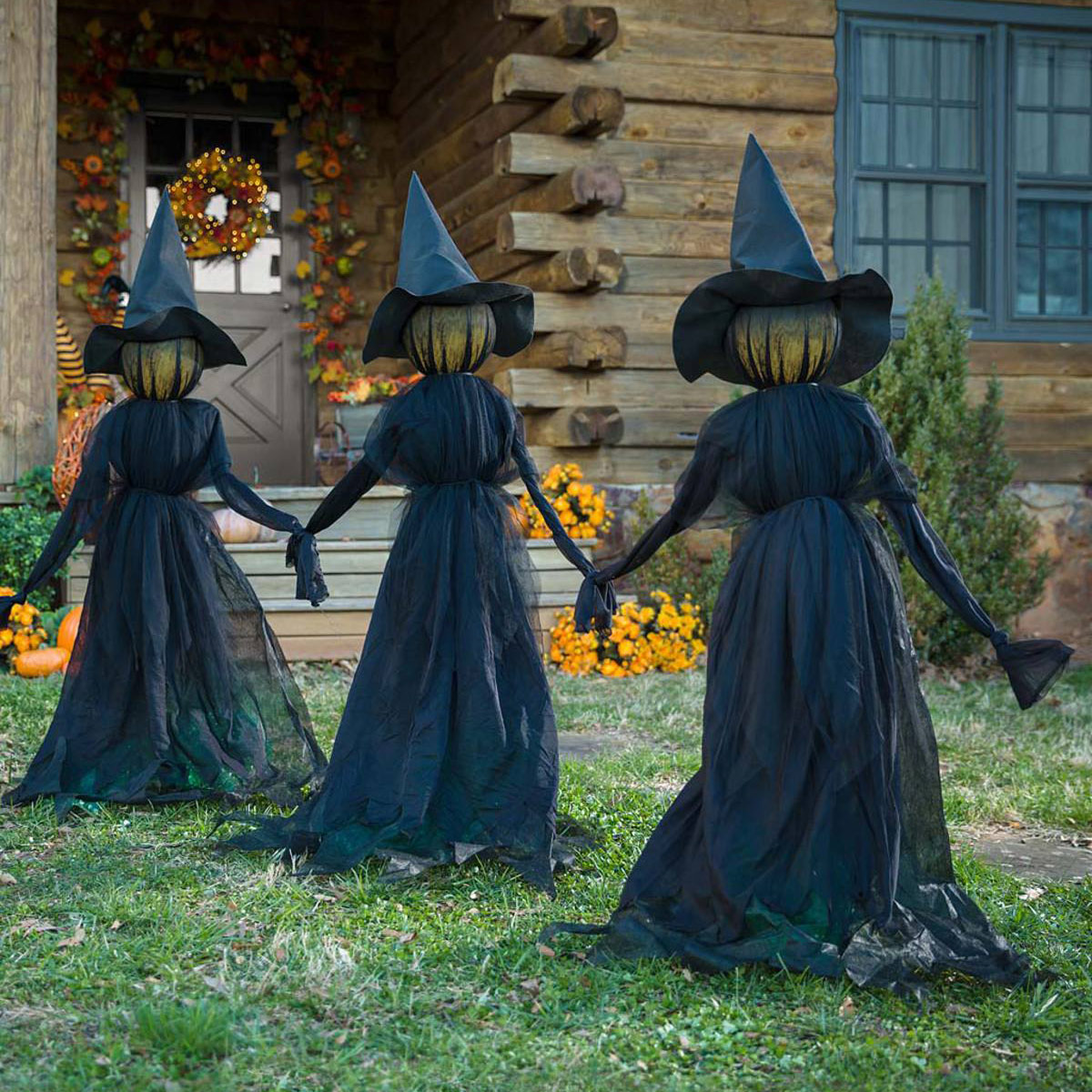 Creepy Illuminated Halloween Yard Witches