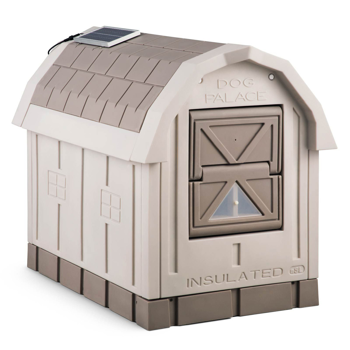 Dog palace insulated dog house the green head for Insulated heated dog house