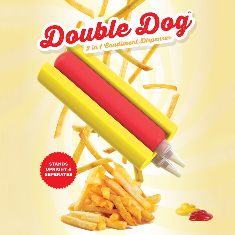 Double Dog - 2-in-1 Hot Dog Shaped Condiment Dispenser