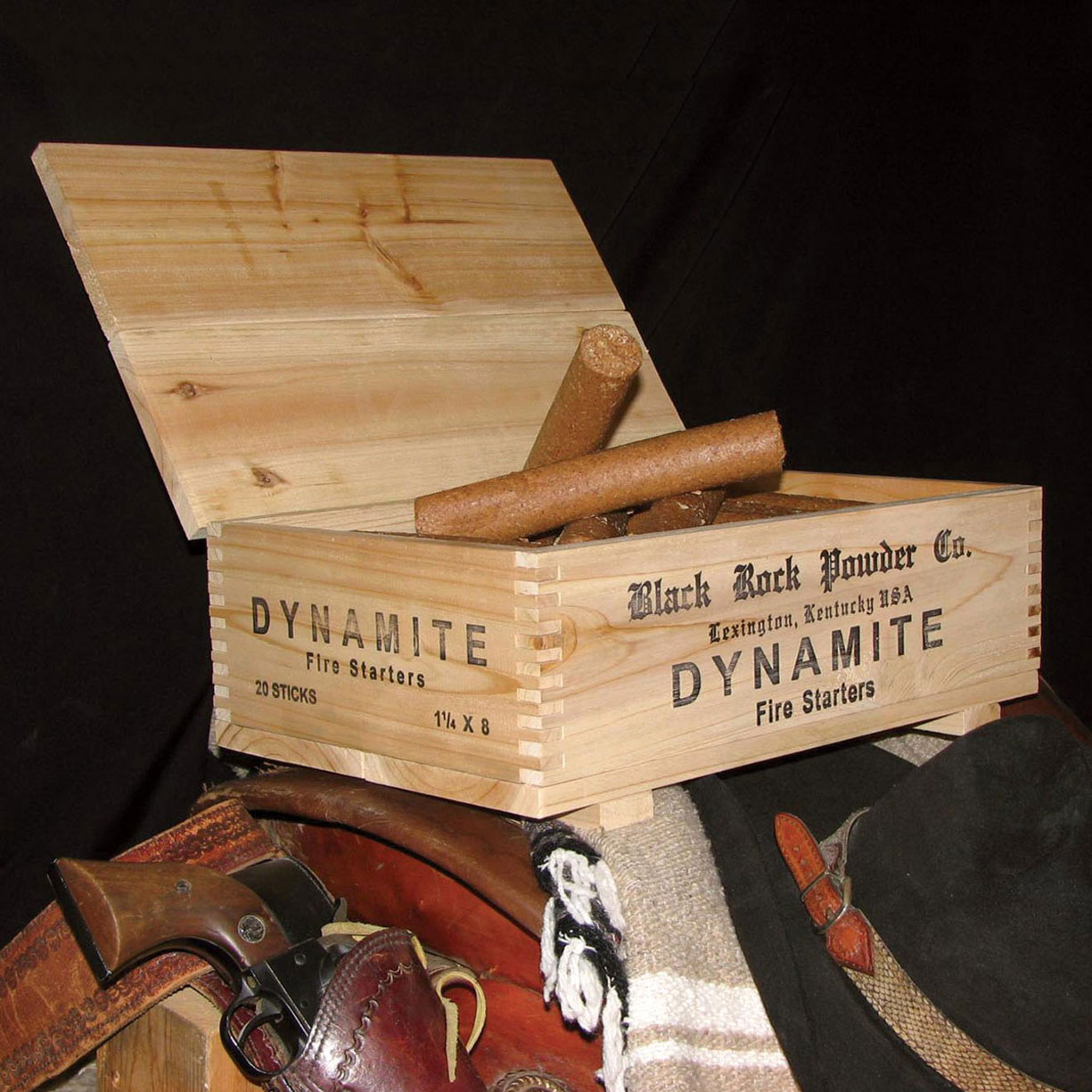 Dynamite fire starters in wooden crate the green head