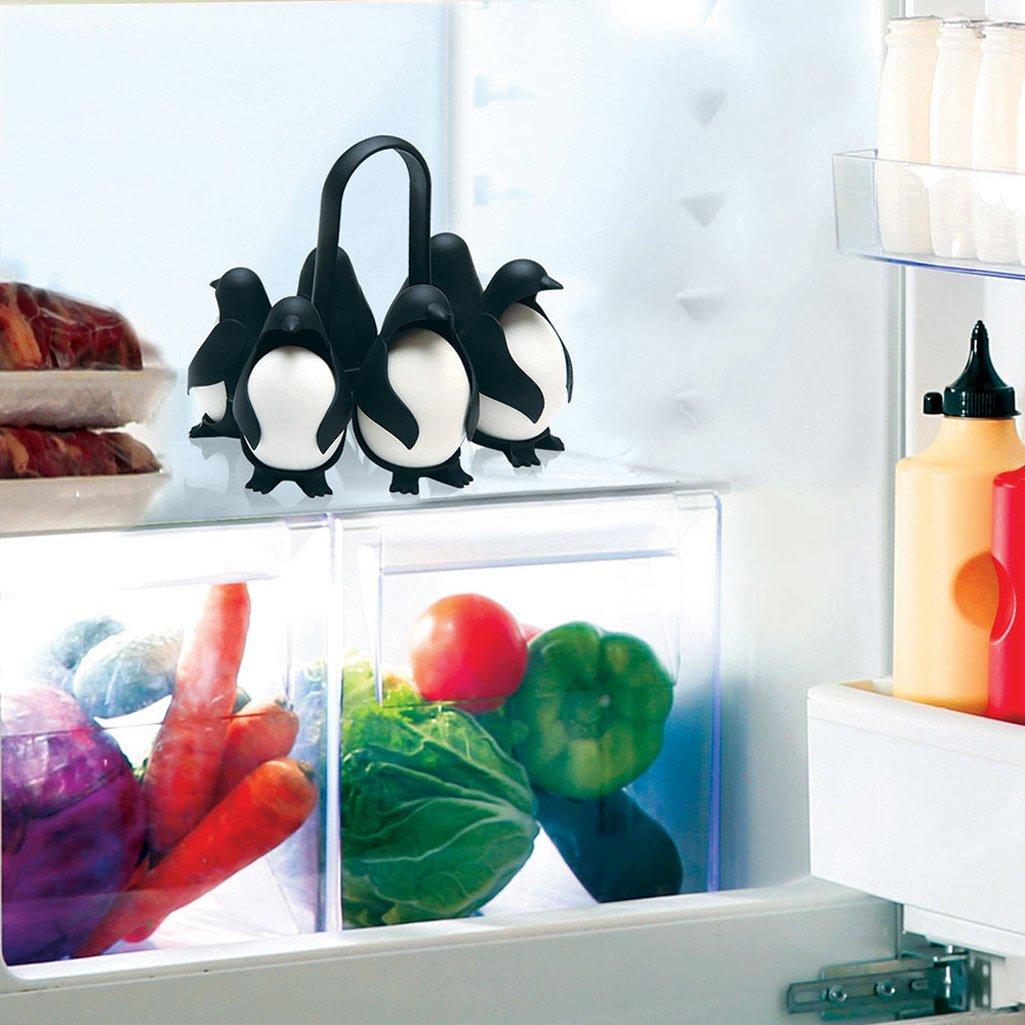 Cute Penguin Shape Boiled Egg Holder Kitchen Refrigerator Eggs Storage Rack~uk