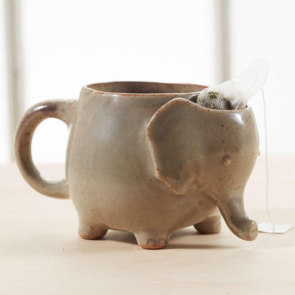 elephant tea mug with tea bag holder the green head. Black Bedroom Furniture Sets. Home Design Ideas