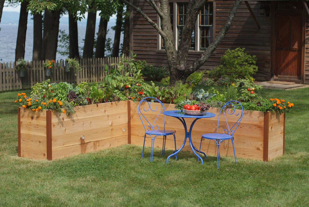 elevated cedar raised garden beds  the green head, Natural flower