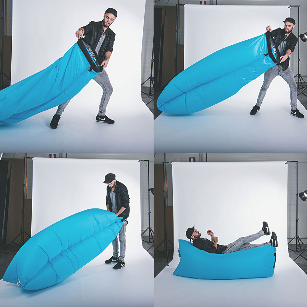 fatboy lamzac instantly inflatable outdoor lounger the green head. Black Bedroom Furniture Sets. Home Design Ideas