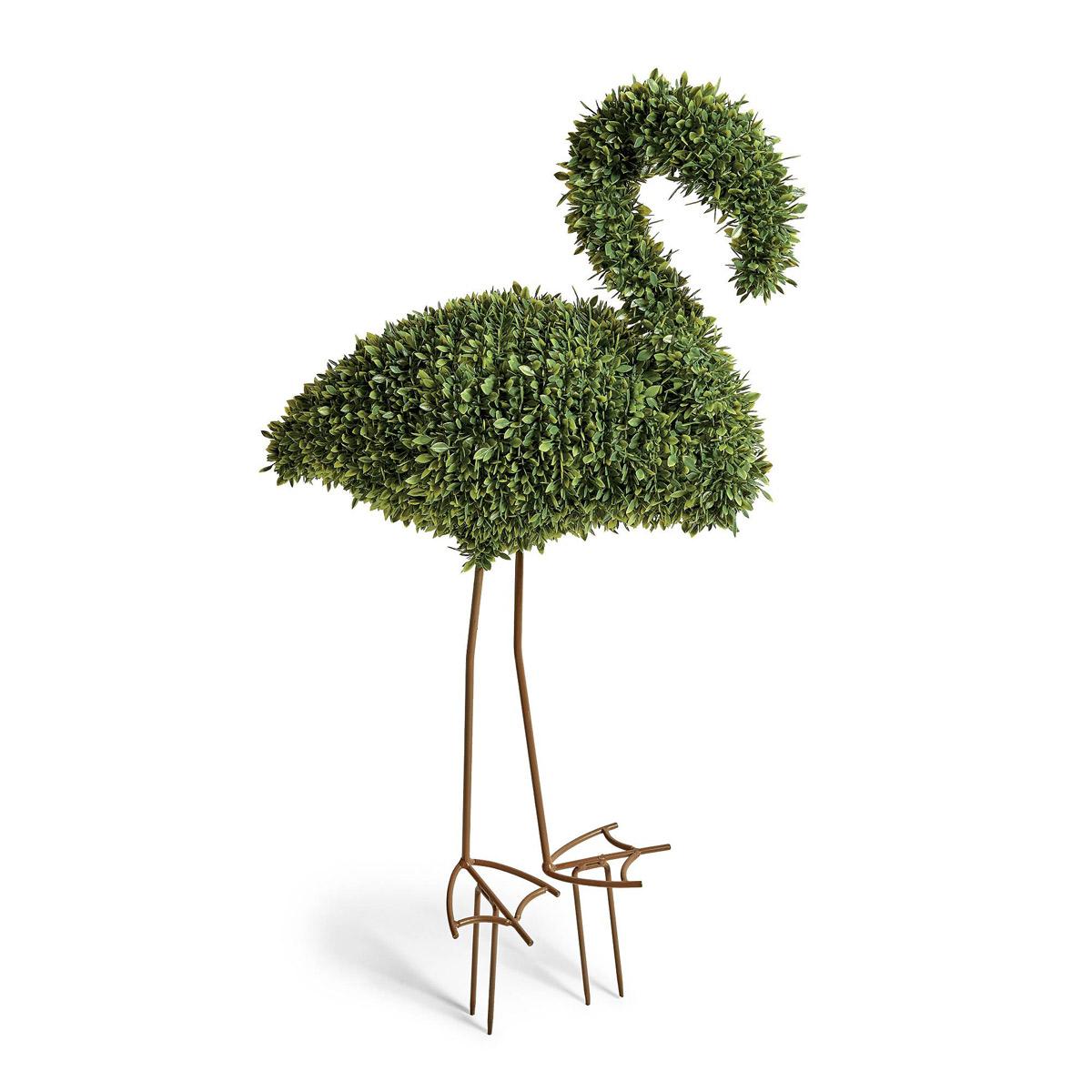 faux boxwood lawn flamingo