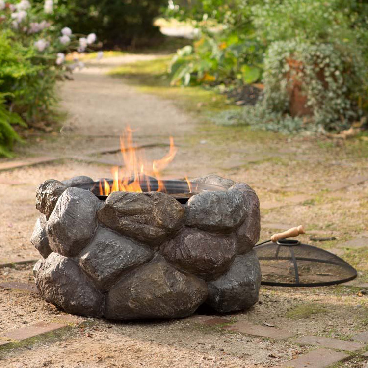 Faux Rock Fire Pit With Spark Guard The Green Head