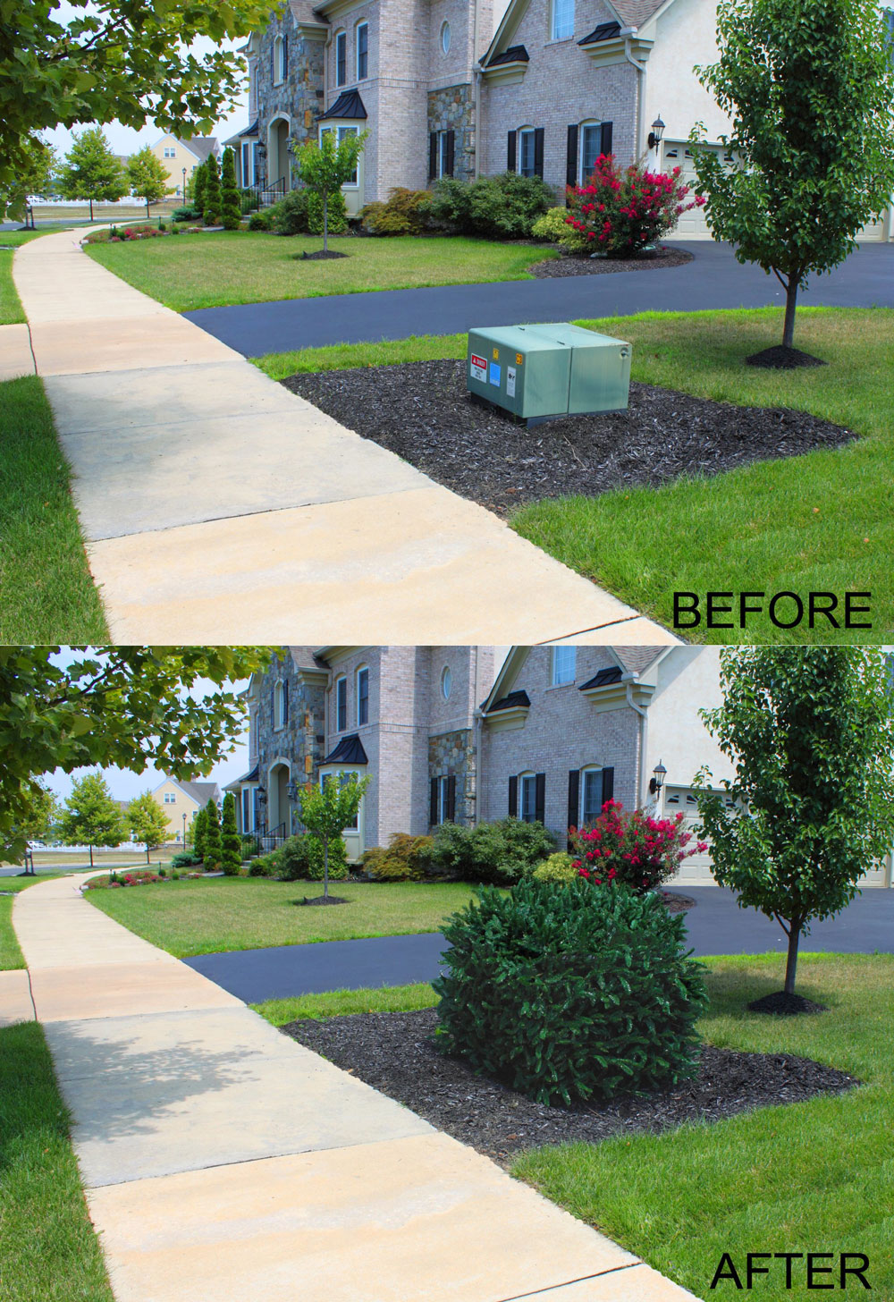 Faux Landscaping Rock Utility Box Covers : Faux shrub utility cover the green head