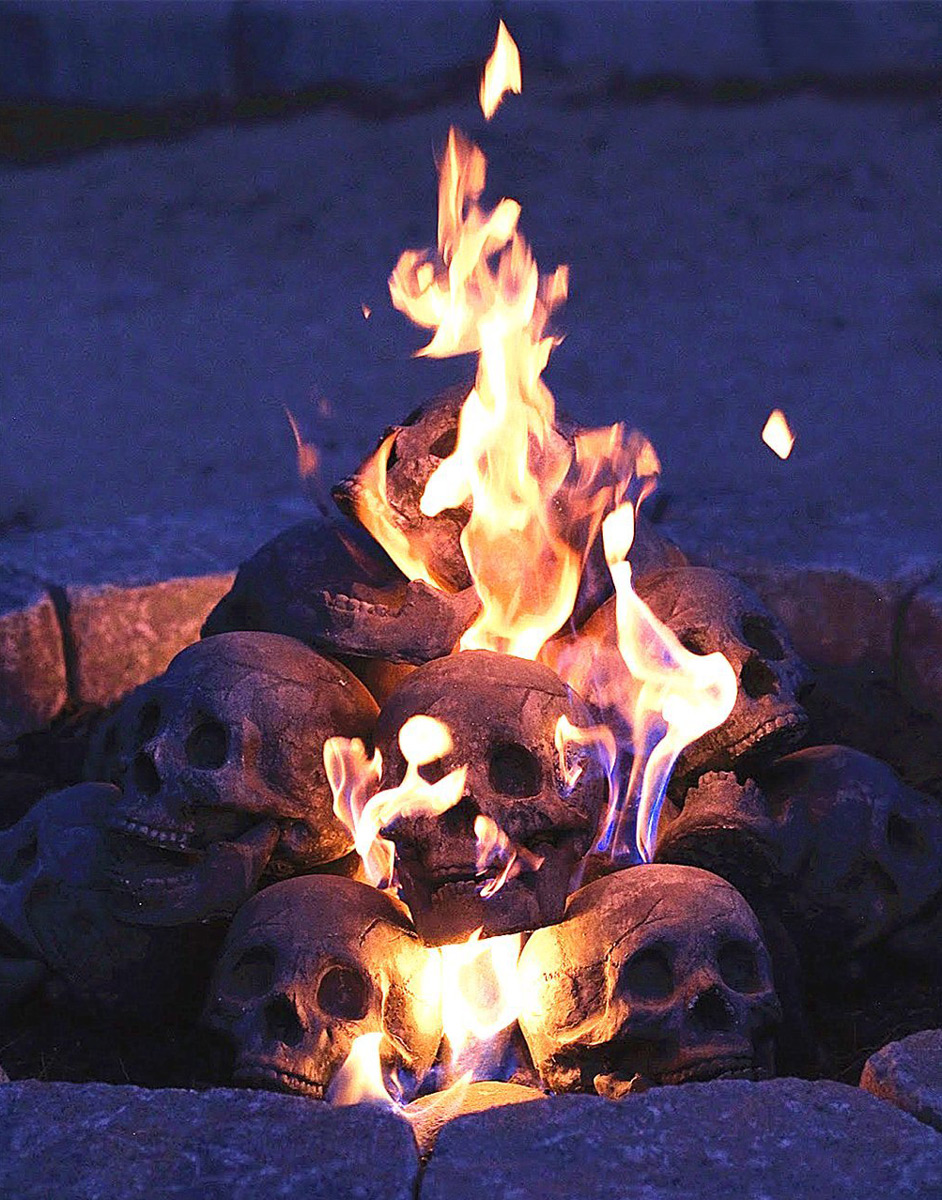Fire pit skull logs the green head fire pit skull logs voltagebd Images