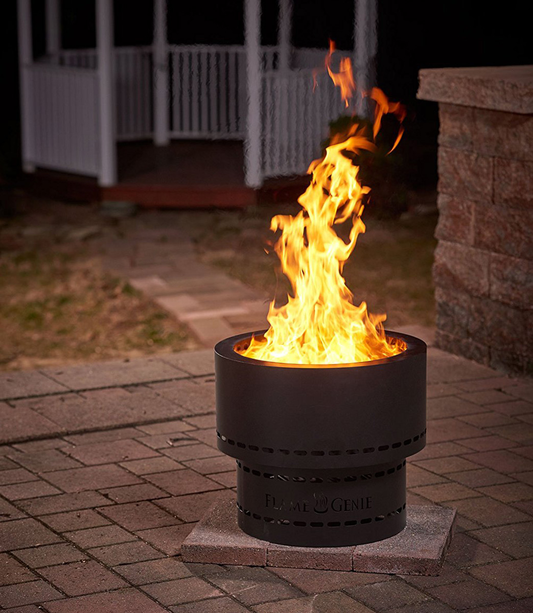 Flame genie wood pellet smokeless fire pit the green head