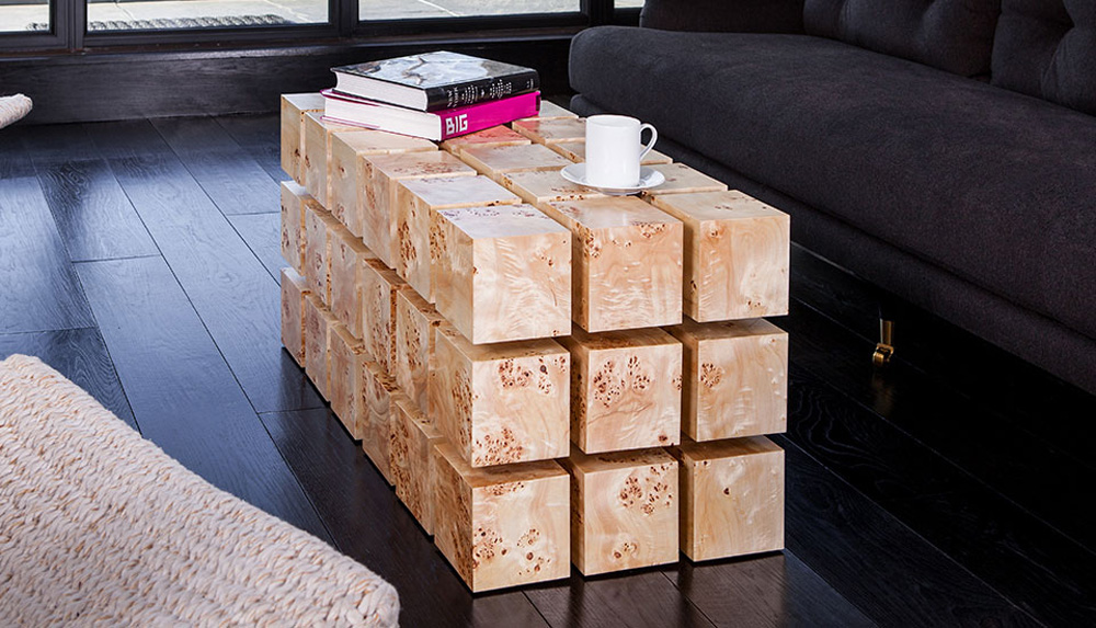 float magnetized levitating wooden cubes table 9