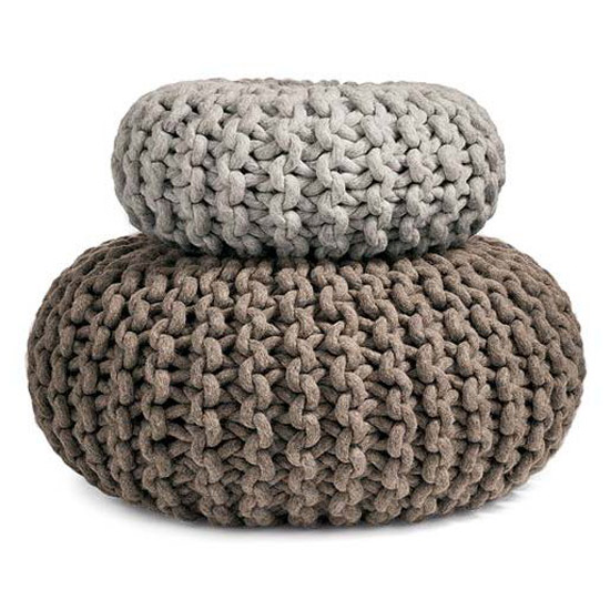 Flocks Pouf Hand Knitted Seat Table Ottoman Or Purely