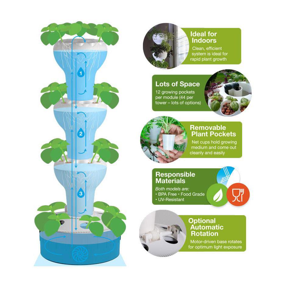 Foody 12 - Vertical Hydroponic Garden Tower
