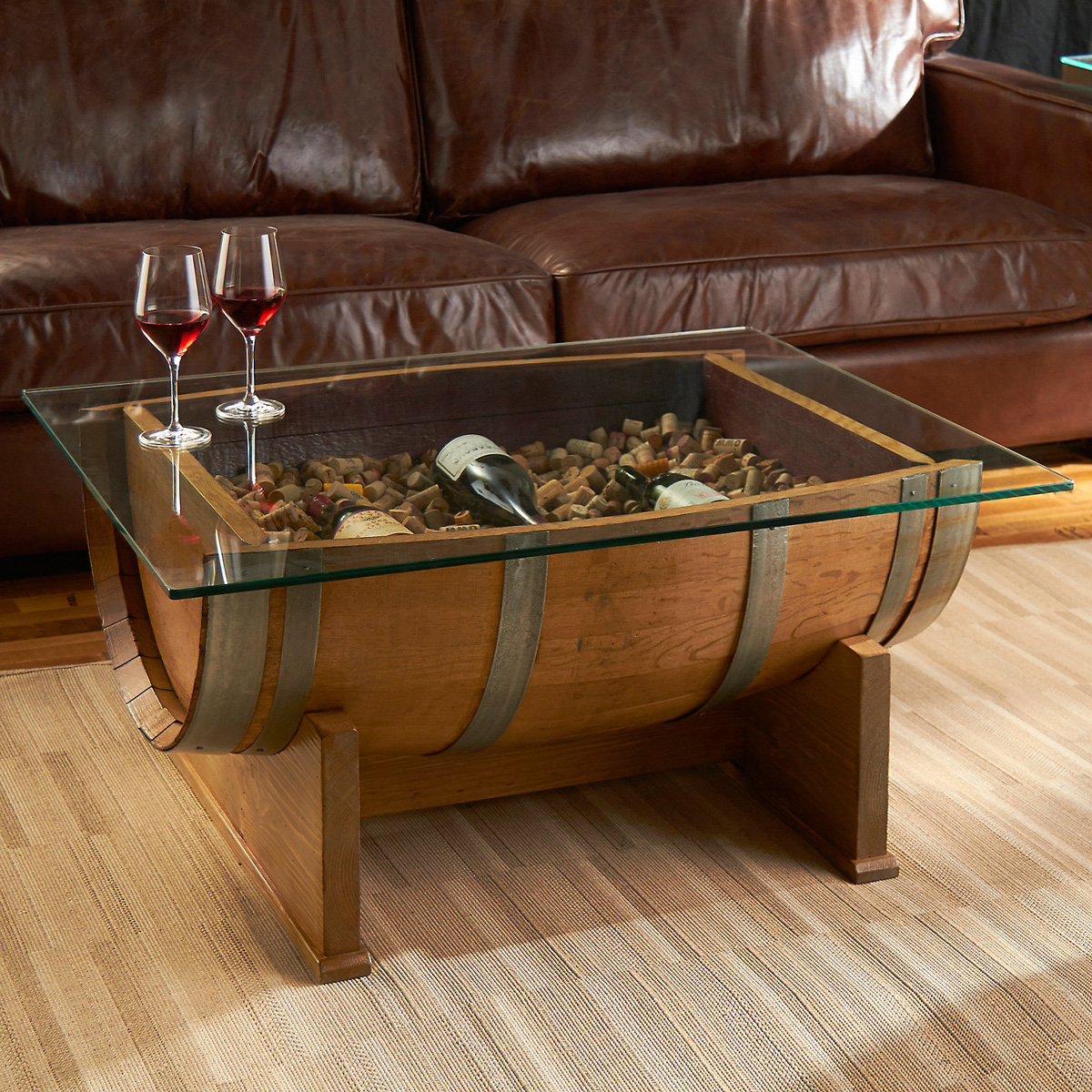 French oak wine barrel cocktail table the green head for Aquarium cocktail table