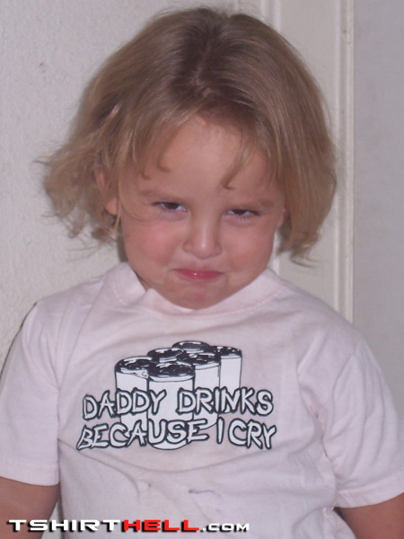 Funny baby t shirt daddy drinks because i cry